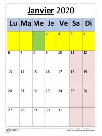 Calendriers 2019 2020